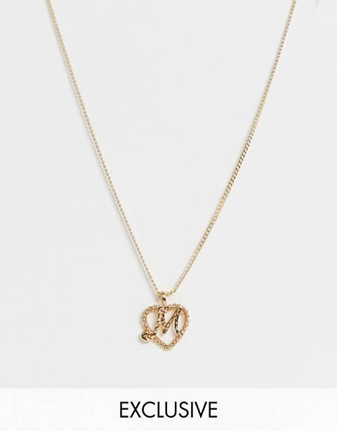 Reclaimed Vintage Inspired - Collier avec pendentif lettre initiale M en plaqué or