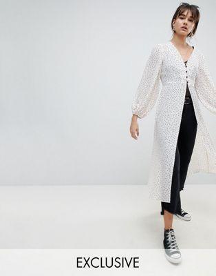 Reclaimed Vintage Inspired – Drouser mit Punktemuster und Knöpfen vorn