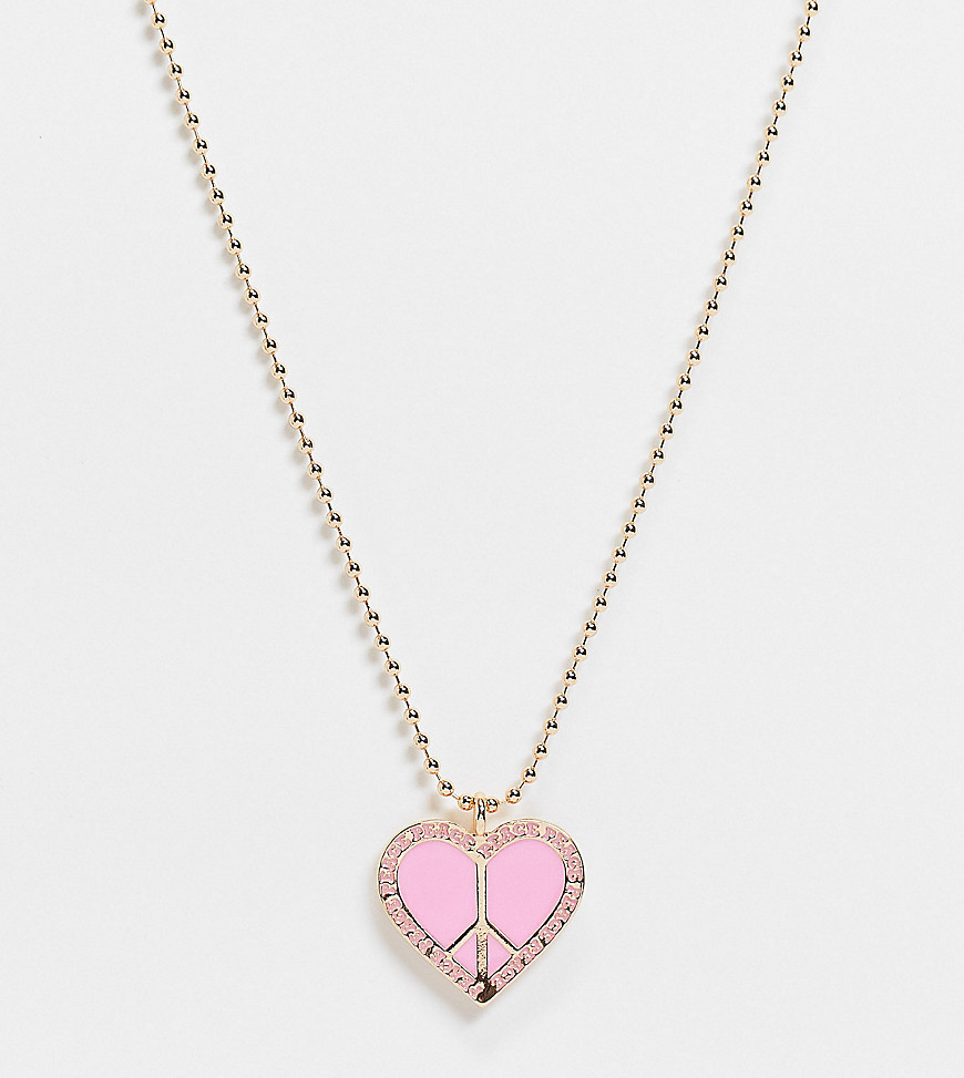 Reclaimed Vintage Inspired - Guldfarvet halskæde med peace-hjerte i lyserød emalje-Multifarvet