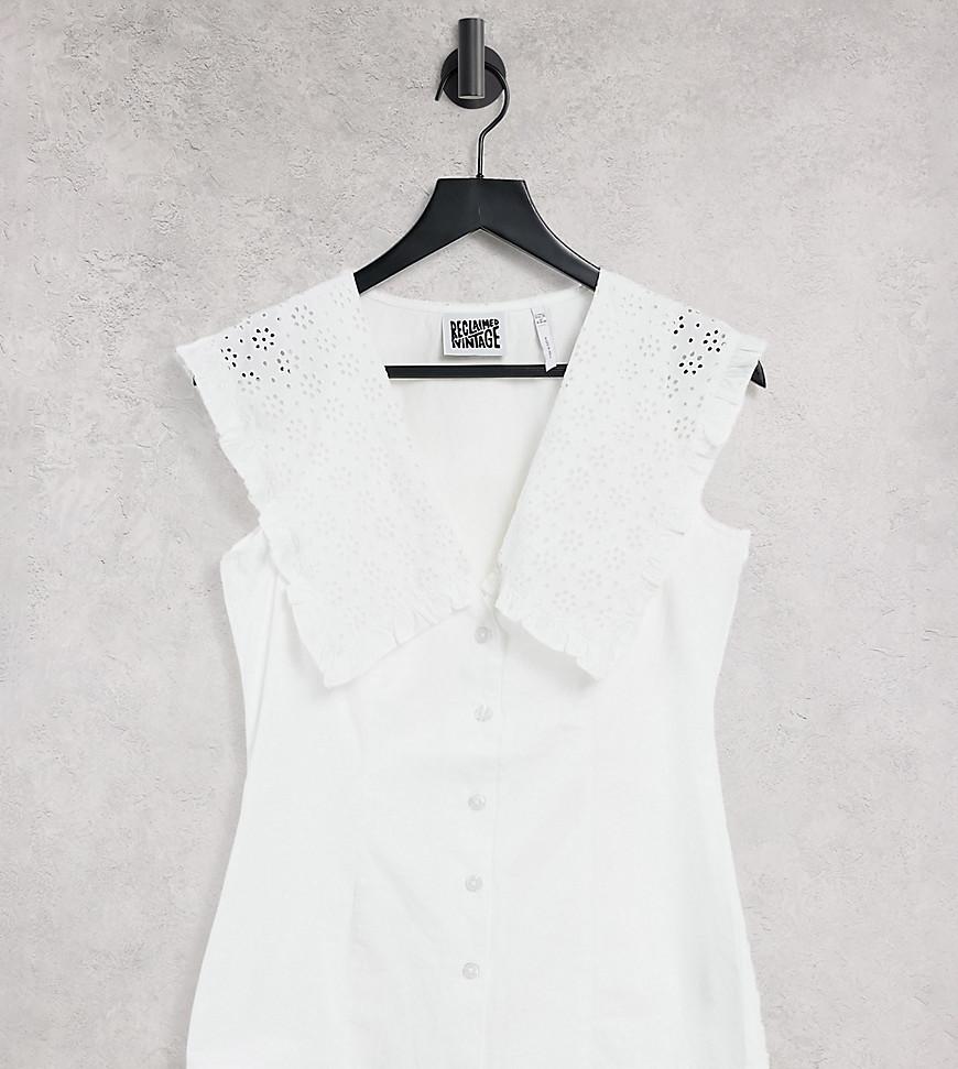 Reclaimed Vintage Inspired - Hvid skjorte uden ærmer med statement-krave