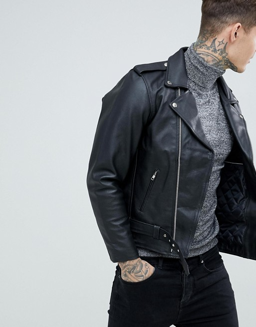 Black Vintage Style Biker Leather Jacket