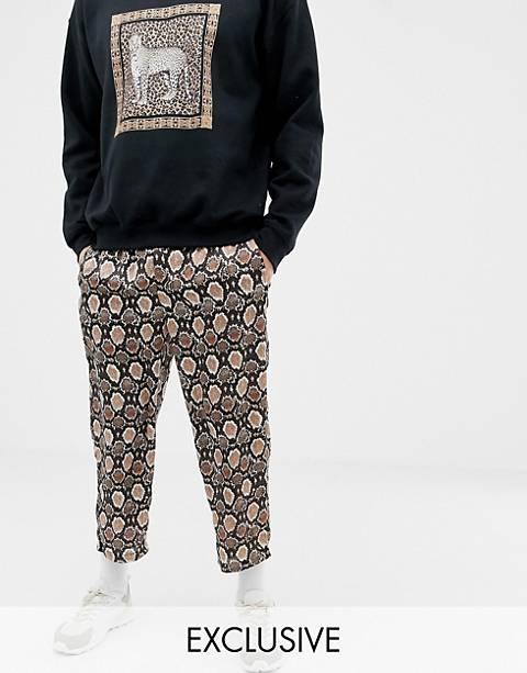 Reclaimed Vintage – Inspired – Legere, kurz geschnittene Hose mit Schlangenhautmuster