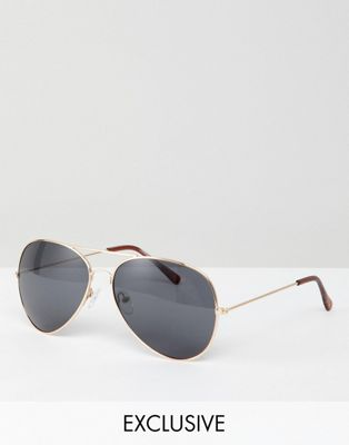 Reclaimed Vintage Inspired - Occhiali da sole modello aviatore oro