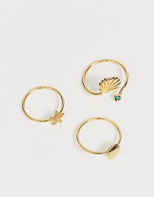 Bild 1 von Reclaimed Vintage Inspired – Ringe im 3er-Set mit Muscheldesign