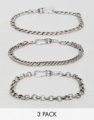 Reclaimed Vintage Inspired – Set Kettenarmbänder aus poliertem Silber, exklusiv bei ASOS