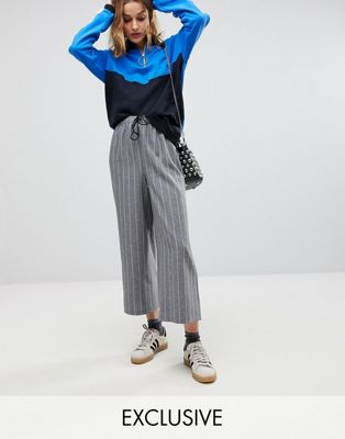 Reclaimed Vintage Inspired Stripe Drawstring Wide Leg PANTS