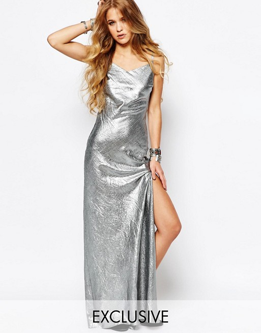 Reclaimed Vintage Maxi Cami Dress In Festival Metallic