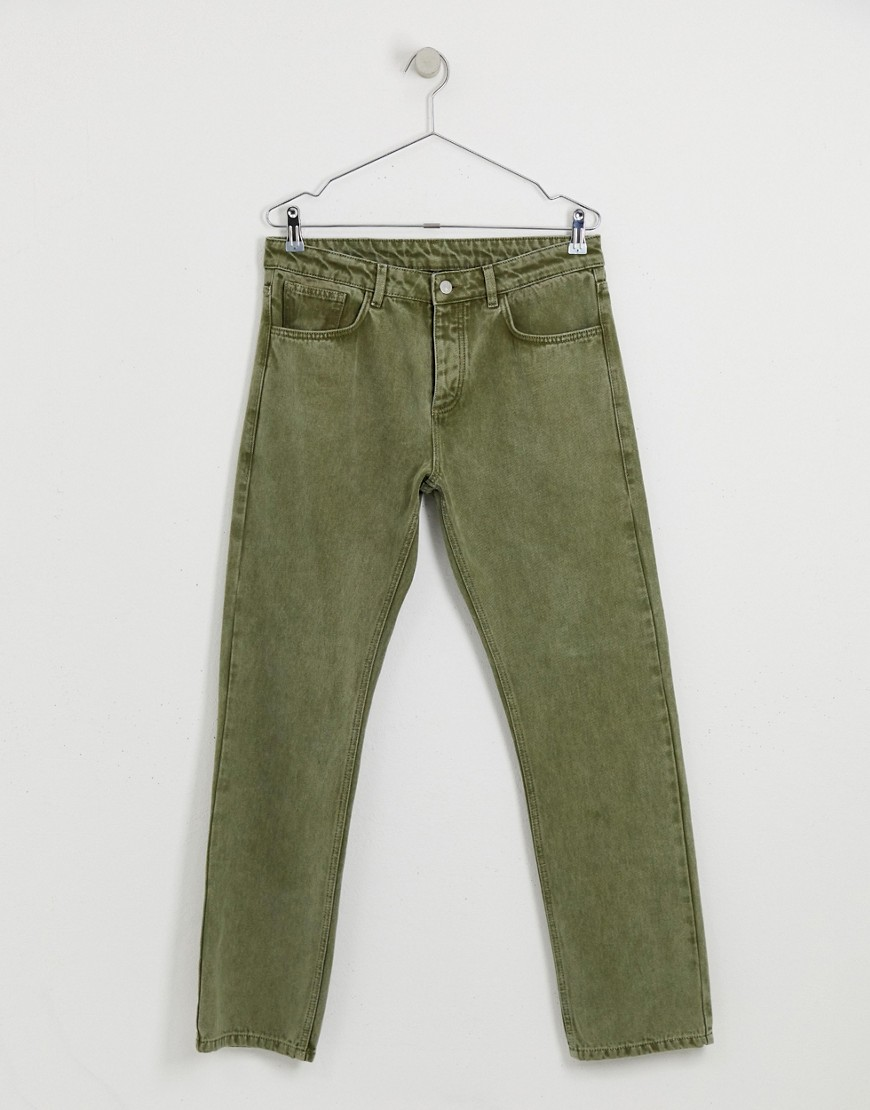 Reclaimed Vintage The '89 Tapered Fit Jeans In Khaki by Reclaimed Vintage
