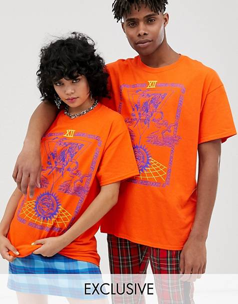 Reclaimed Vintage Unisex t-shirt with tarrot card poster in orange