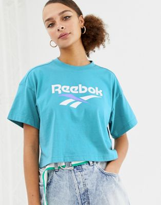 Image 1 of Reebok Classics mint vector logo cropped t-shirt