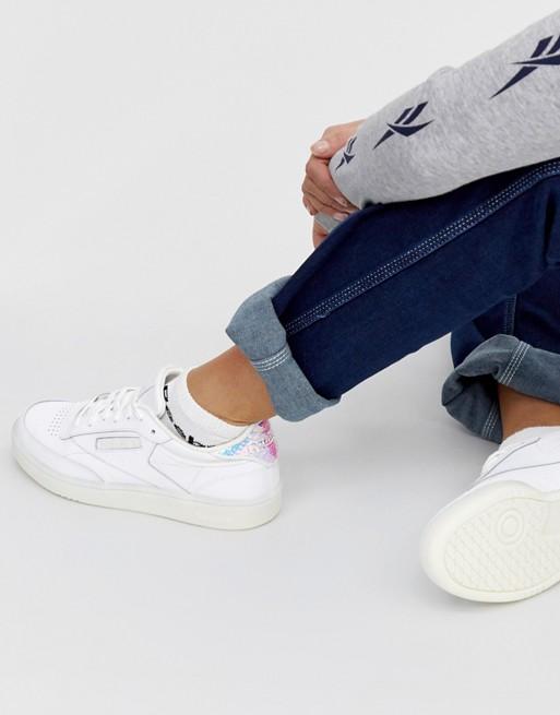 beste Angebote für am besten einkaufen der Verkauf von Schuhen Reebok – Club C 85 – Weiße Sneaker mit schimmernder Rückseite