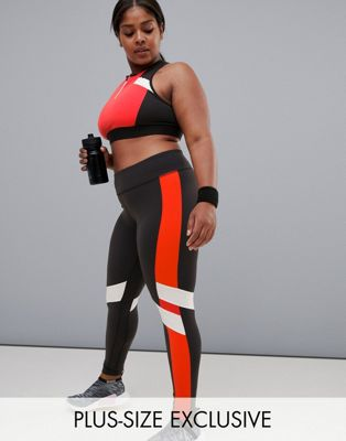 Reebok Plus Training Exclusive To ASOS Colourblock Leggings In Black And Red