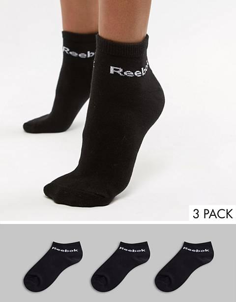 Reebok – Schwarze Trainingssocken im 3er-Pack