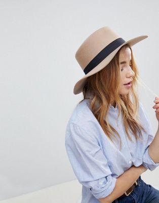 Регулируемая фетровая шляпа канотье светло-бежевого цвета ASOS DESIGN