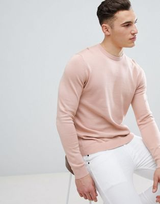 Reiss Knitted Crew Neck Jumper In Light Pink