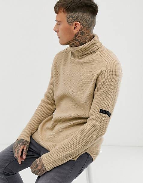 Religion chunky knit sweater with roll neck in camel