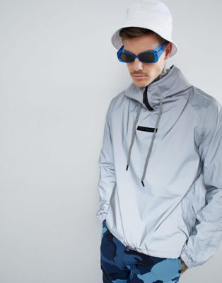 Religion Festival 3M Reflective Jacket In Metallic Grey