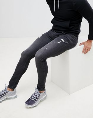 Image 1 sur Religion - Jean super skinny avec déchirures - Noir délavé