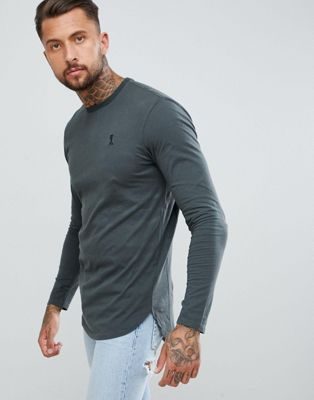 Religion Longline Curved Hem Long Sleeve Top in Grey