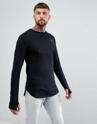 Religion longline long sleeve top in black