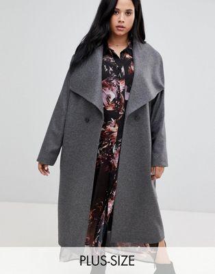 Religion - Manteau croisé grande taille avec col drapé
