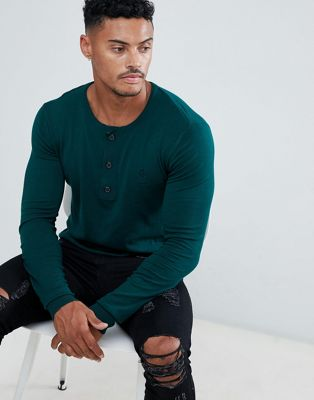 Religion Muscle Fit Grön stickad tröja med farfarskrage