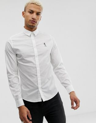Religion Muscle Fit Smart Shirt In White With Logo