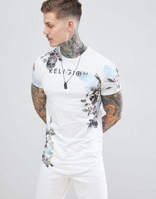 Religion muscle fit t-shirt with botanical skull print