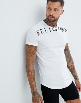 Religion Muscle Fit T-Shirt With Branding In White