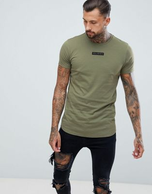 Religion Muscle Fit T-Shirt With Curved Hem In Khaki
