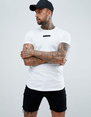 Religion Muscle Fit T-Shirt With Curved Hem In White