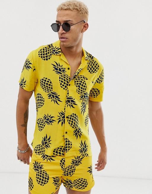 Afbeelding 1 van Religion - Overhemd met reverskraag en ananasprint