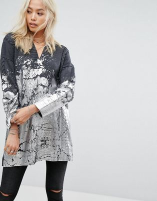 Religion Oversized Jumper With Metallic Paint And Cable Knit