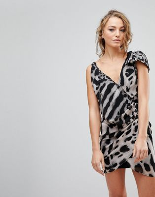 Religion Passion Asymmetric Animal Print Dress