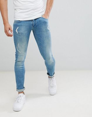 Religion Skinny Fit Jeans With Stretch And Rips In Blue