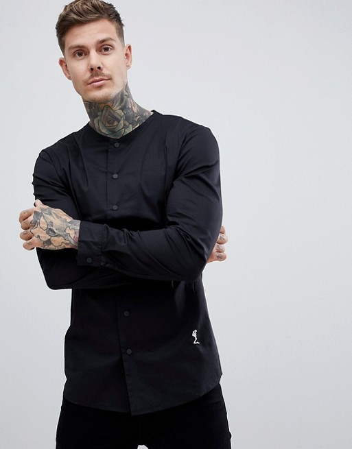 Image 1 of Religion slim fit smart shirt in black with grandad neck