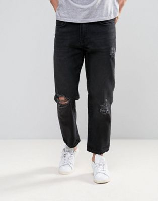 Religion Slim Jeans With Rips In Washed Black