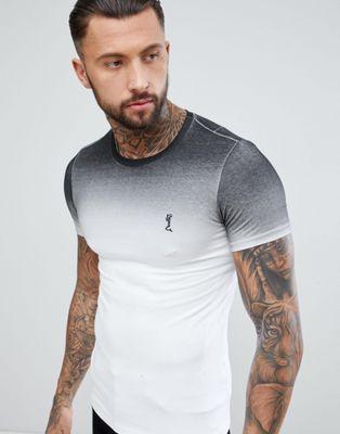 Religion - T-shirt attillata nera sfumata