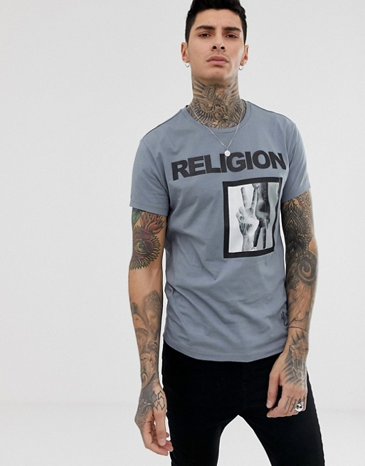 Image 1 of Religion t-shirt with victory patch print in grey