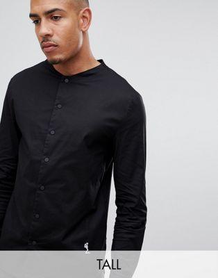 Religion Tall - Camicia slim elegante nera con collo serafino