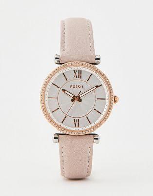 Reloj de cuero rosa de 35 mm ES4484 Carlie de Fossil