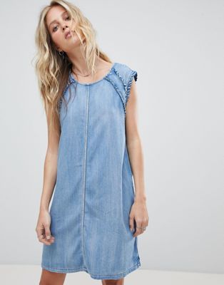 Replay Denim Dress with Ruffle Detail
