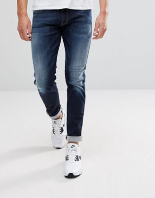 Replay Hyperflex Anbass Slim Jeans in Blue Black