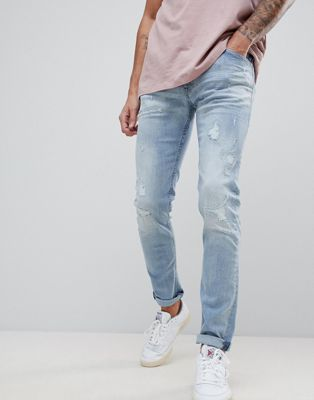 Replay Jondrill Distressed Skinny Jeans Lightwash
