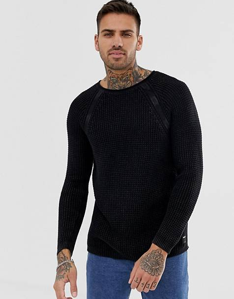 Replay muscle fit mesh sweater in black