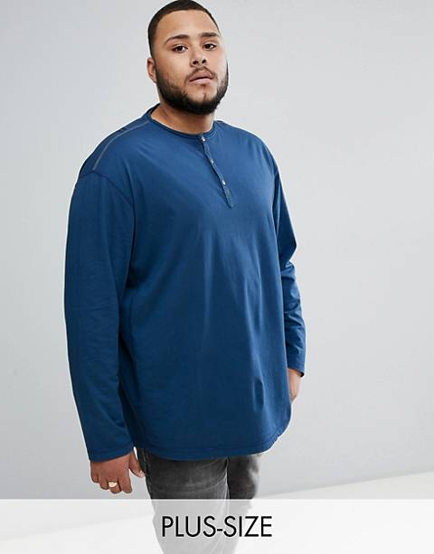 Replika Plus - T-shirt manches longues à col boutonné - Bleu
