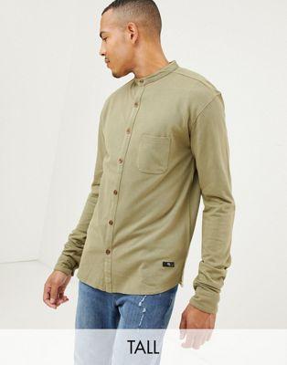 Replika Tall - Camicia a maniche lunghe con collo serafino e tasca