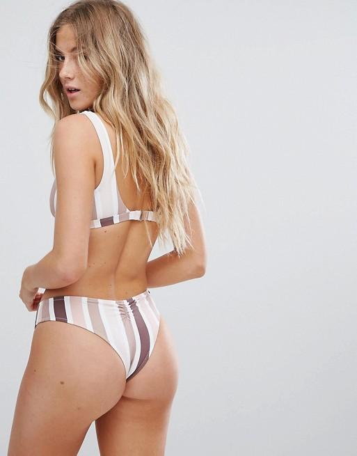Rhythm Bas de bikini taille basse à rayures