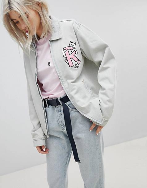 RIPNDIP Boyfriend Denim Jacket With Embroidered Logo And Contrast Gingham Lining
