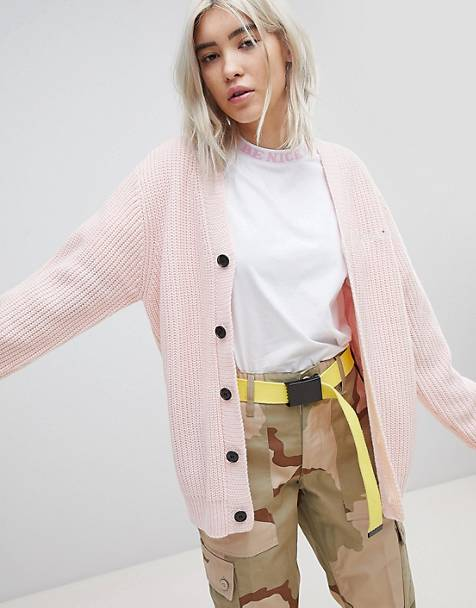 RIPNDIP Oversized Button Through Cardigan With Slogan Embroidered